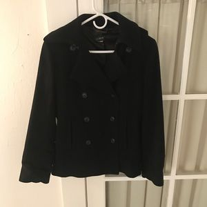 J. Crew Black Wool Pea Coat